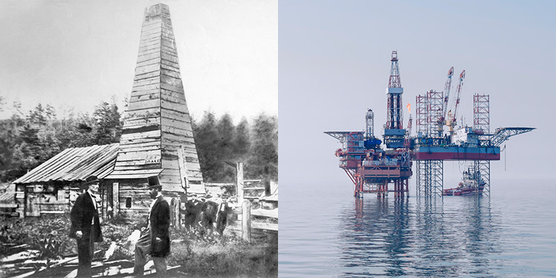 The first commercial oil well, built in Titusville, Pennsylvania in 1859, was the prototype for modern oil platforms.