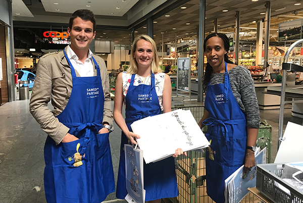 Neste Geneva team did volunteer work by collecting food for the association Partage.