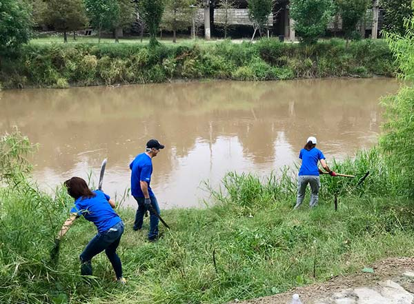 Neste Houston team volunteered at Buffalo Bayou Park in Houston.